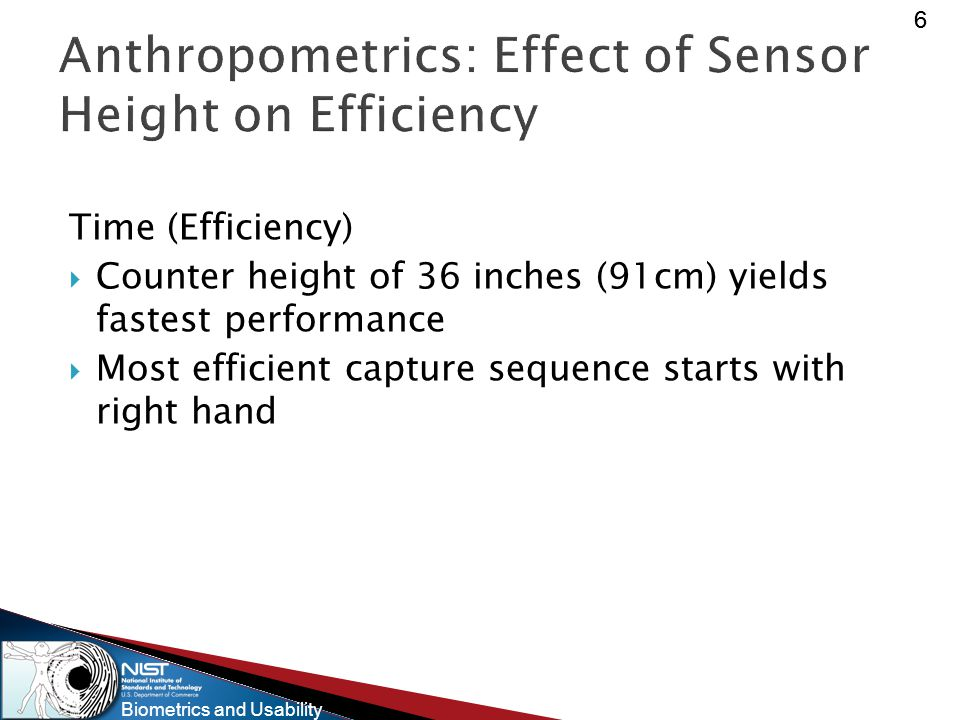 Biometrics and Usability 66 Anthropometrics: Effect of Sensor Height on Efficiency Time (Efficiency)  Counter height of 36 inches (91cm) yields fastest performance  Most efficient capture sequence starts with right hand