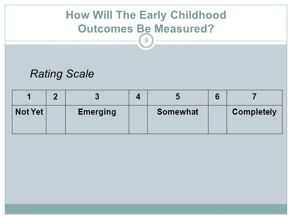 How Will the Early Childhood Outcomes Be Measured.