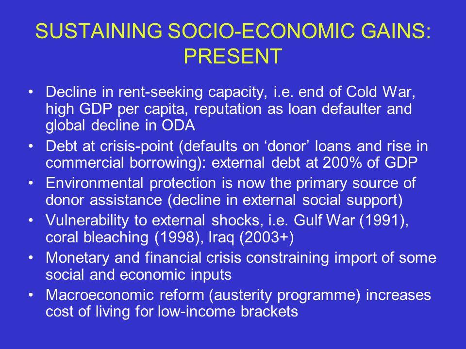 SUSTAINING SOCIO-ECONOMIC GAINS: PRESENT Decline in rent-seeking capacity, i.e.
