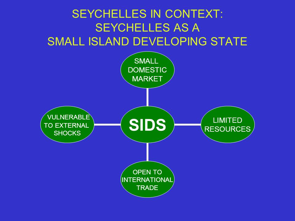 SEYCHELLES IN CONTEXT: SEYCHELLES AS A SMALL ISLAND DEVELOPING STATE SIDS SMALL DOMESTIC MARKET LIMITED RESOURCES OPEN TO INTERNATIONAL TRADE VULNERABLE TO EXTERNAL SHOCKS