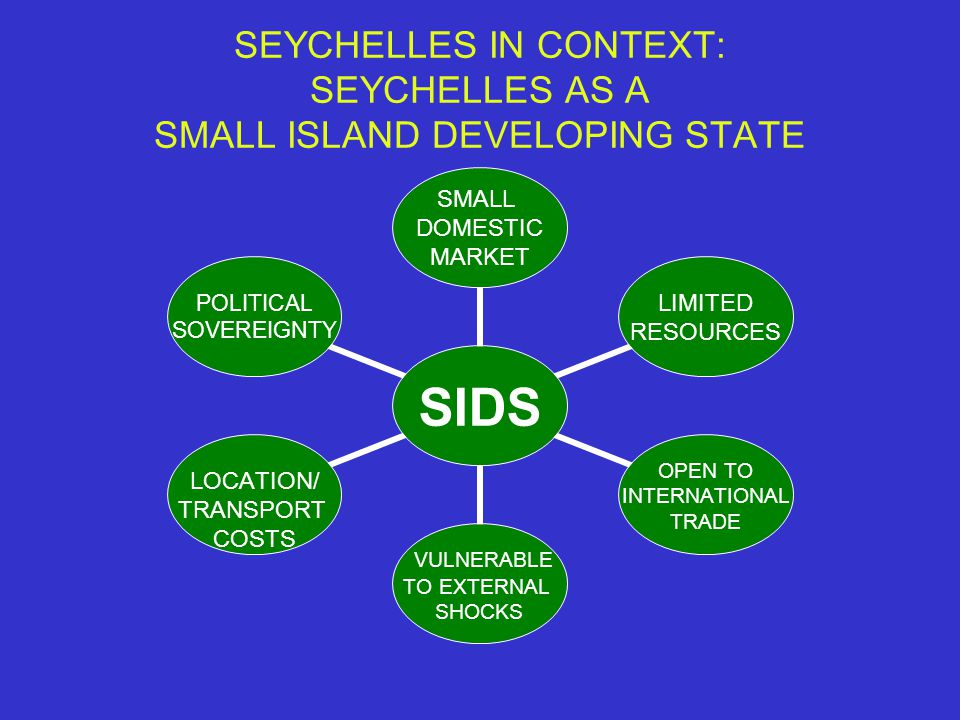 SEYCHELLES IN CONTEXT: SEYCHELLES AS A SMALL ISLAND DEVELOPING STATE SIDS SMALL DOMESTIC MARKET LIMITED RESOURCES OPEN TO INTERNATIONAL TRADE VULNERABLE TO EXTERNAL SHOCKS LOCATION/ TRANSPORT COSTS POLITICAL SOVEREIGNTY