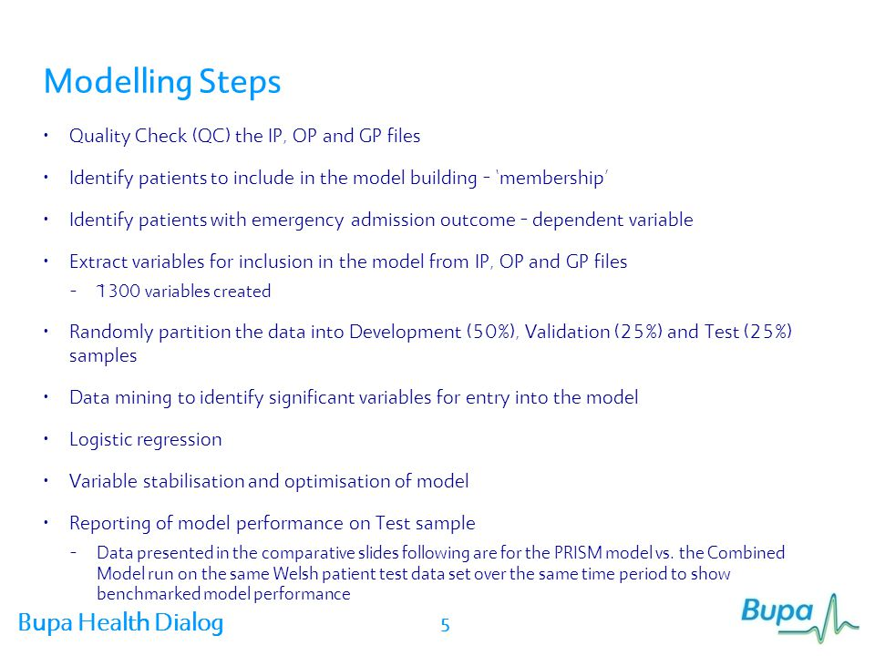 Bupa Health Dialog Variables in the Model - Inpatient Selected from ~1300 variables tested Included Codes Variable Category Variable Name DescriptionBeta Co- efficient RangeLook back Read 2ICD-10Variable Category Variable Name Inpatient Utilisation IP_Emer g_admit 12 Emergency admissions in last 12 months of history period 0.444712 month s Previous emergency admission is a strong predictor of future emergency admission Inpatient Utilisation IP_Non _emerg _admit Non-emergency admission 0.098912 month s Elective admissions are also a predictor of emergency admissions Inpatient Utilisation IP_Dayn ight Inpatient day & night cases 0.723812 month s Ambulatory admissions are also predictive of emergency admissions Inpatient Utilisation IP_Emer g_admit 12 Emergency admissions in last 12 months of history period 0.444712 month s Previous emergency admission is a strong predictor of future emergency admission 16