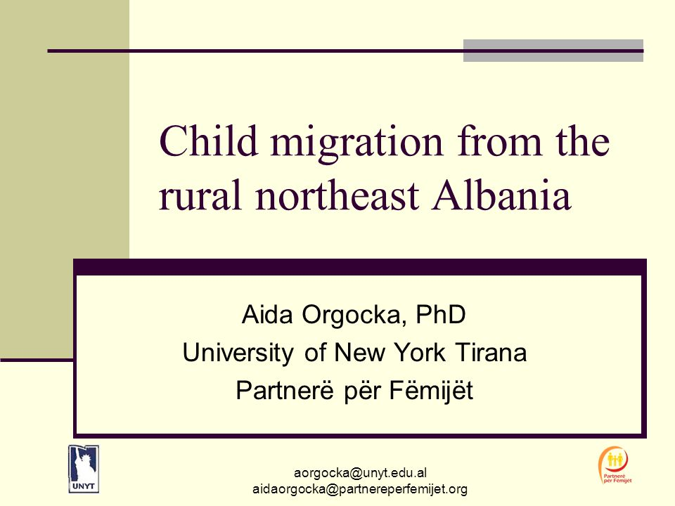 aorgocka@unyt.edu.al aidaorgocka@partnereperfemijet.org Albania A European country that lost its mystery grip to the developed world in the early nineties when it shed off its isolation policy; Bad press especially due to mass exodus When one thinks of Albania and migration, more likely one may bring to mind...