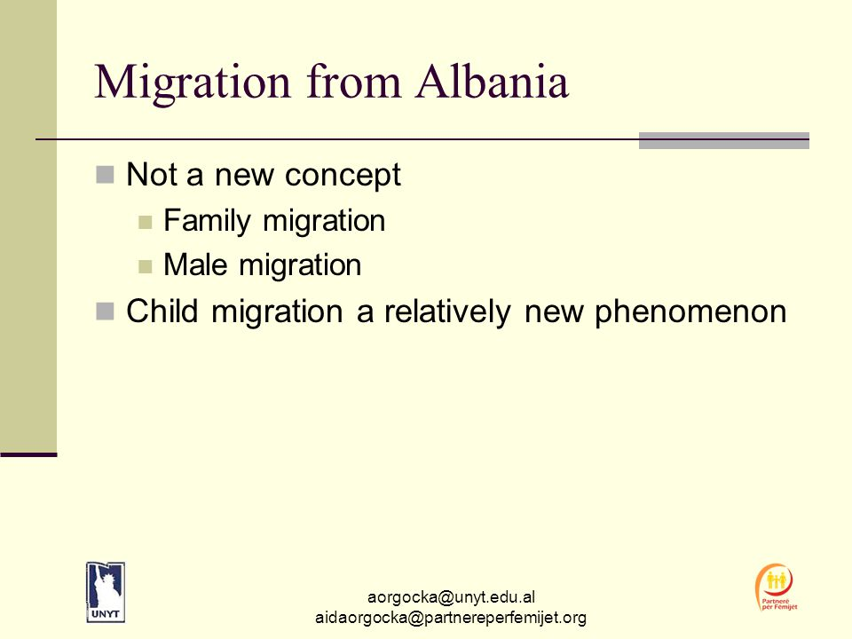 aorgocka@unyt.edu.al aidaorgocka@partnereperfemijet.org From findings to action Child migration happens and will continue to happen in depressed areas of Albania.