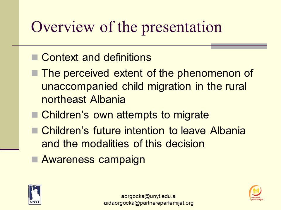 aorgocka@unyt.edu.al aidaorgocka@partnereperfemijet.org The invisibility of Albanian children as economic migrants Unlike Albanian adult migration, the phenomenon has received scant attention in research.