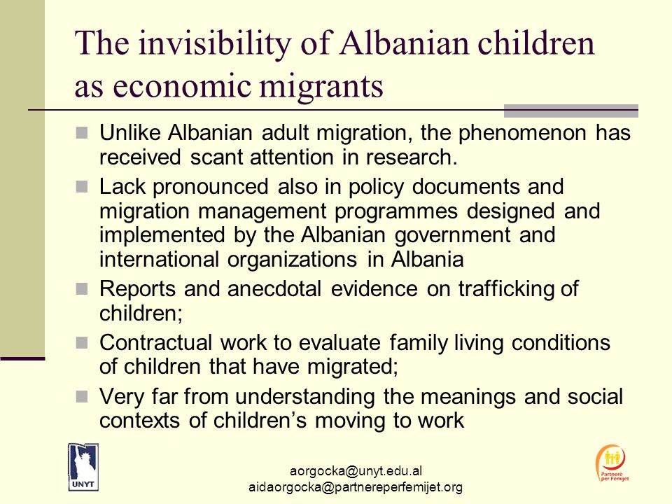 aorgocka@unyt.edu.al aidaorgocka@partnereperfemijet.org Definitions A child defined as anyone between the ages of 0 and 18; 'Economic child migrants ' meaning any child who migrates particularly for work (Huijsmans, 2006).