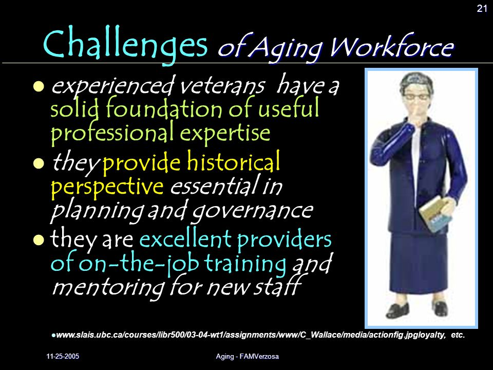 11-25-2005Aging - FAMVerzosa 21 of Aging Workforce Challenges of Aging Workforce experienced veterans have a solid foundation of useful professional expertise they provide historical perspective essential in planning and governance they are excellent providers of on-the-job training and mentoring for new staff www.slais.ubc.ca/courses/libr500/03-04-wt1/assignments/www/C_Wallace/media/actionfig.jpgloyalty, etc.