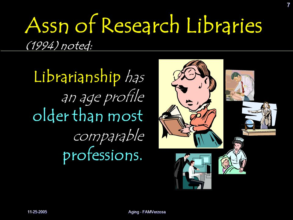 11-25-2005Aging - FAMVerzosa 7 Librarianship has an age profile older than most comparable professions. Assn of Research Libraries (1994) noted: