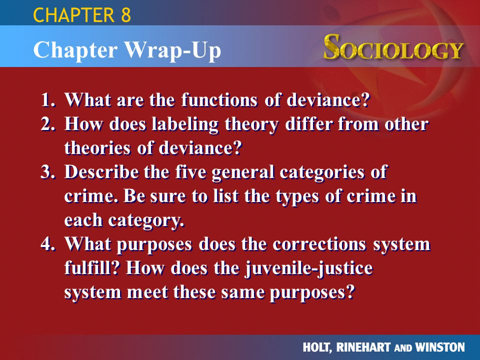 Chapter Wrap-Up 1.What are the functions of deviance? 2.How does labeling theory differ from other theories of deviance? 3.Describe the five general c