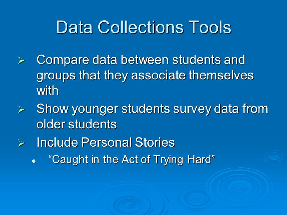 Data Collections Tools  Compare data between students and groups that they associate themselves with  Show younger students survey data from older students  Include Personal Stories Caught in the Act of Trying Hard Caught in the Act of Trying Hard