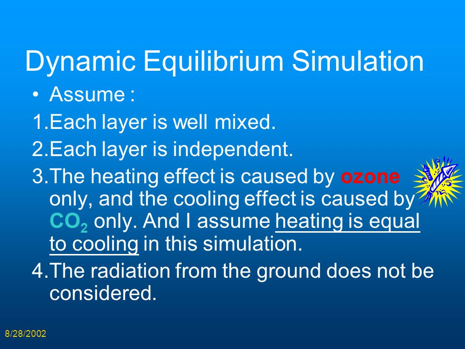 8/28/2002 Dynamic Equilibrium Simulation Assume : 1.Each layer is well mixed. 2.Each layer is independent. 3.The heating effect is caused by ozone onl
