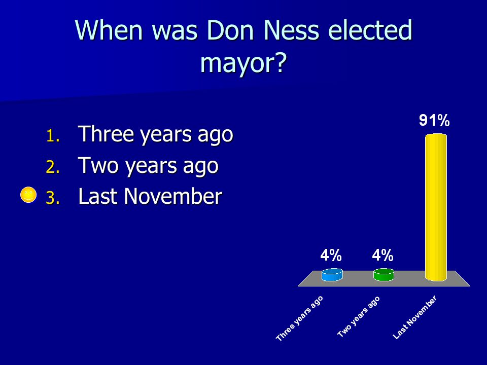 When was Don Ness elected mayor 1. Three years ago 2. Two years ago 3. Last November