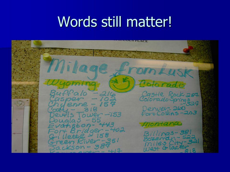 Words still matter!