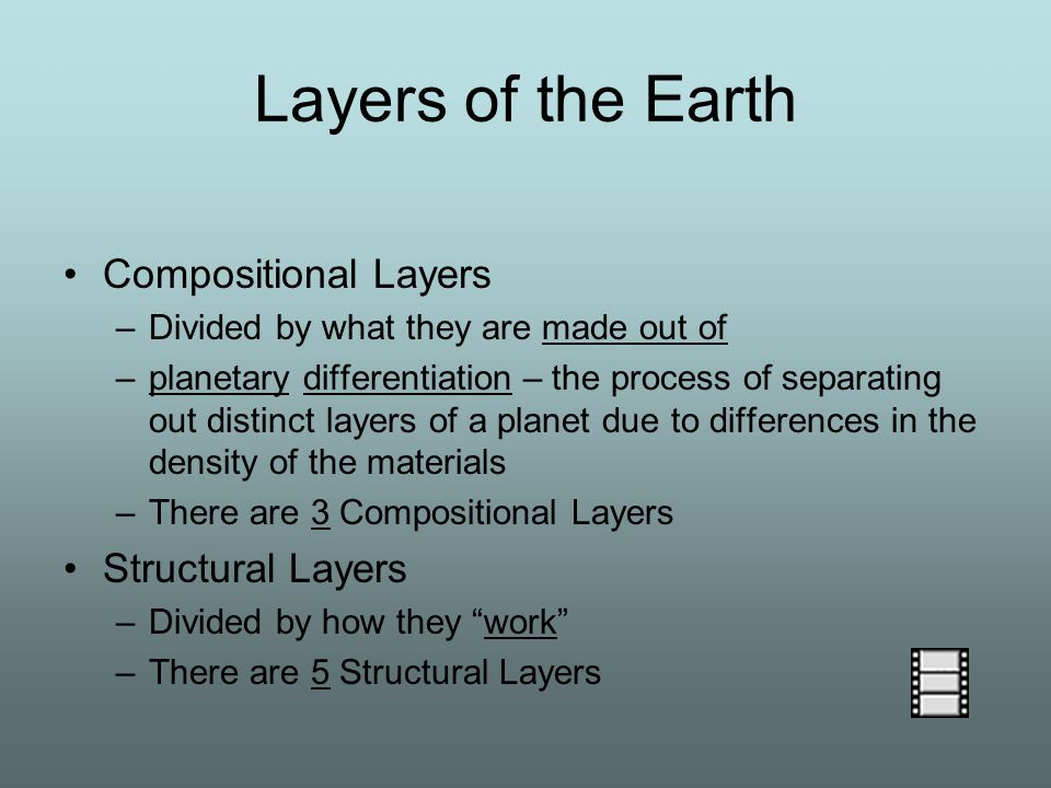 Compositional Layers –Divided by what they are made out of –planetary differentiation – the process of separating out distinct layers of a planet due to differences in the density of the materials –There are 3 Compositional Layers Structural Layers –Divided by how they work –There are 5 Structural Layers