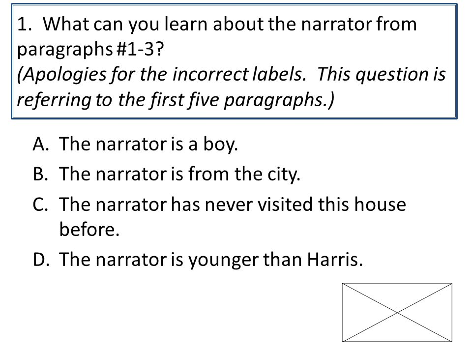 1. What can you learn about the narrator from paragraphs #1-3.