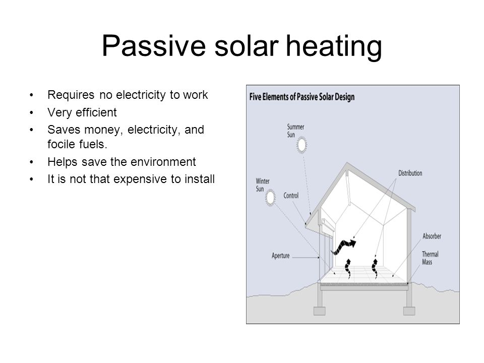 Passive solar heating Requires no electricity to work Very efficient Saves money, electricity, and focile fuels.
