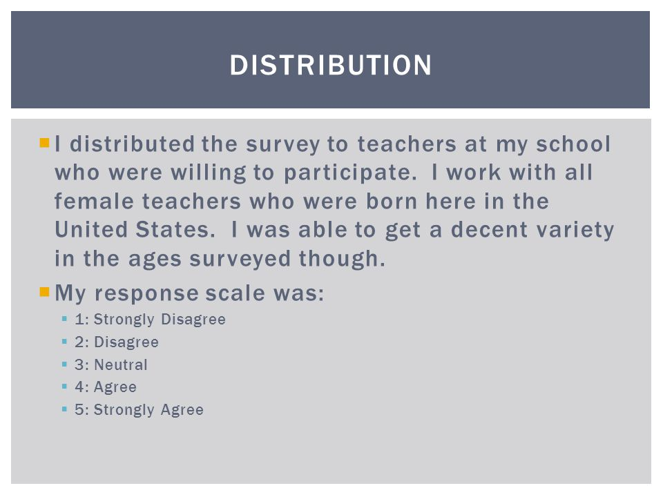  I distributed the survey to teachers at my school who were willing to participate.