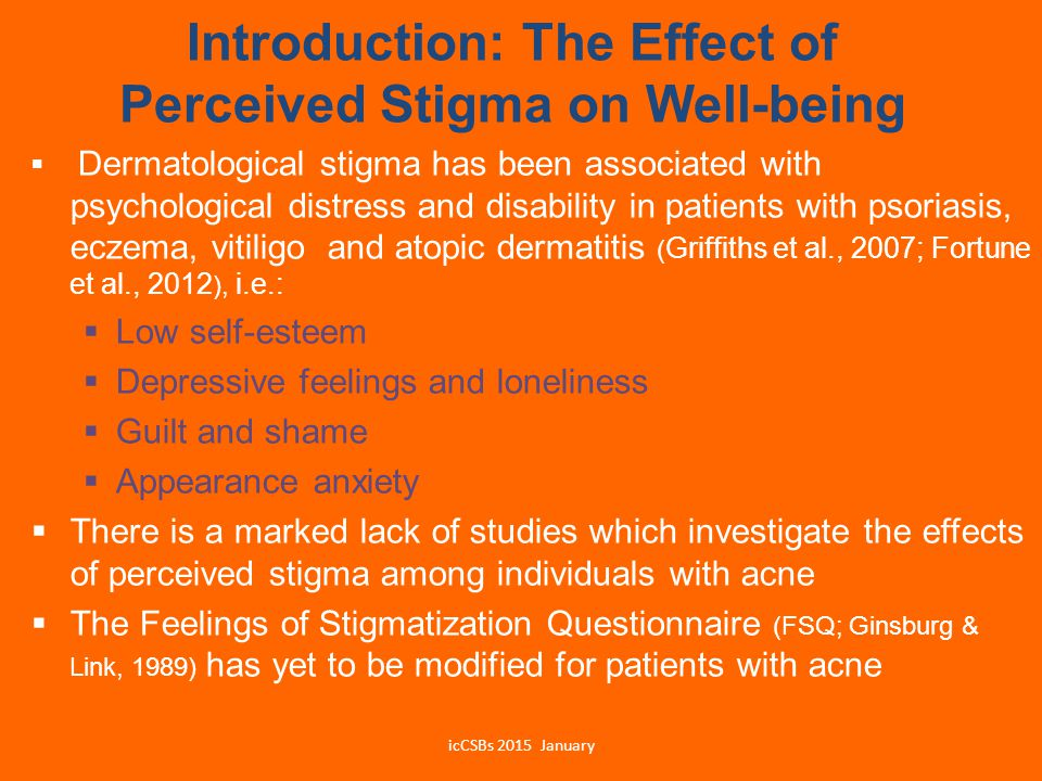 Introduction: The Effect of Perceived Stigma on Well-being  Dermatological stigma has been associated with psychological distress and disability in p