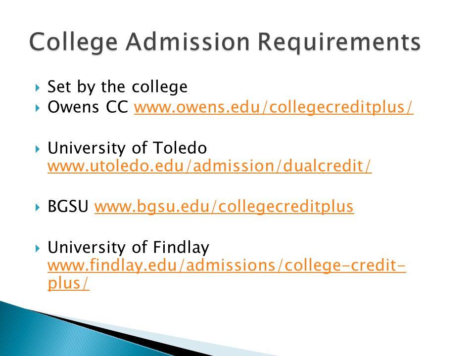  Set by the college  Owens CC www.owens.edu/collegecreditplus/www.owens.edu/collegecreditplus/  University of Toledo www.utoledo.edu/admission/dualcredit/ www.utoledo.edu/admission/dualcredit/  BGSU www.bgsu.edu/collegecreditpluswww.bgsu.edu/collegecreditplus  University of Findlay www.findlay.edu/admissions/college-credit- plus/ www.findlay.edu/admissions/college-credit- plus/