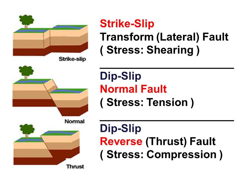 Strike-Slip Transform (Lateral) Fault ( Stress: Shearing ) ______________________ Dip-Slip Normal Fault ( Stress: Tension ) ______________________ Dip-Slip Reverse (Thrust) Fault ( Stress: Compression )