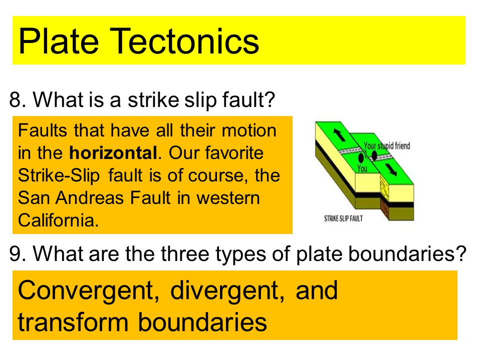8. What is a strike slip fault. 9. What are the three types of plate boundaries.