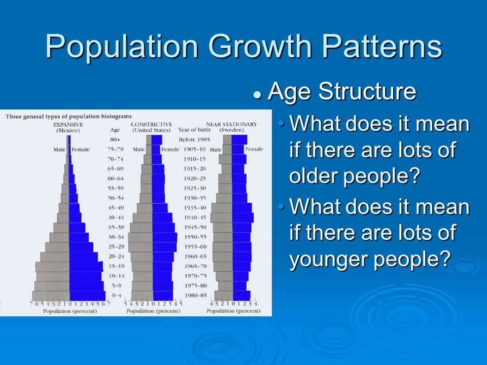 Population Growth Patterns Age Structure What does it mean if there are lots of older people? What does it mean if there are lots of younger people?