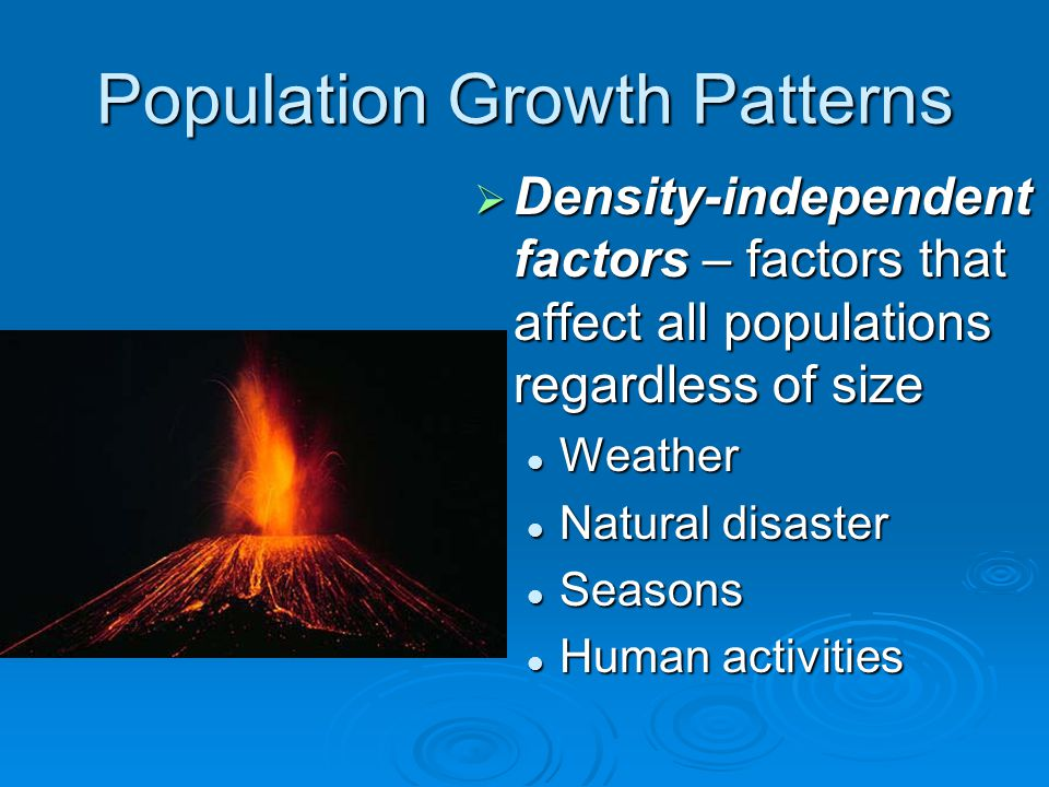 Population Growth Patterns  Density-independent factors – factors that affect all populations regardless of size Weather Natural disaster Seasons Hum