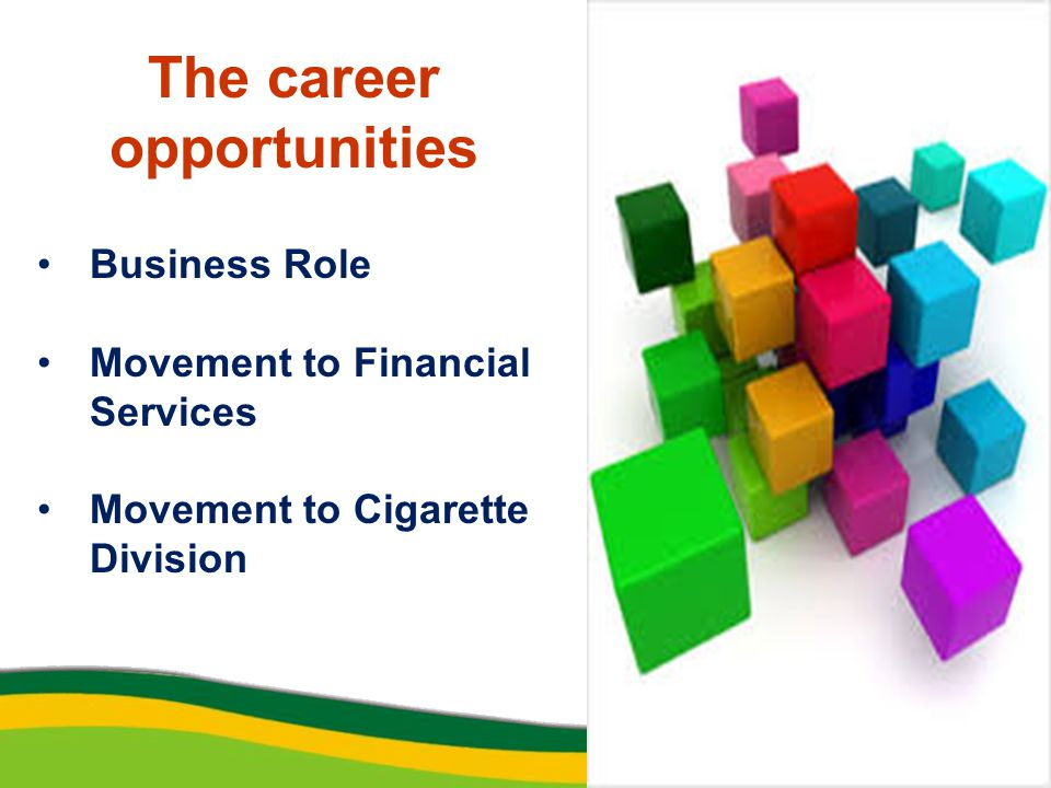 The career opportunities Business Role Movement to Financial Services Movement to Cigarette Division