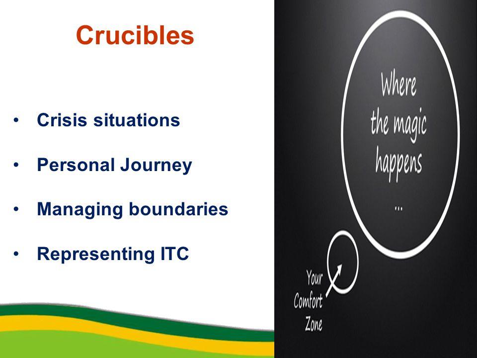 Crucibles Crisis situations Personal Journey Managing boundaries Representing ITC