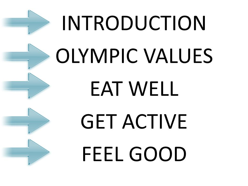 INTRODUCTION OLYMPIC VALUES EAT WELL GET ACTIVE FEEL GOOD