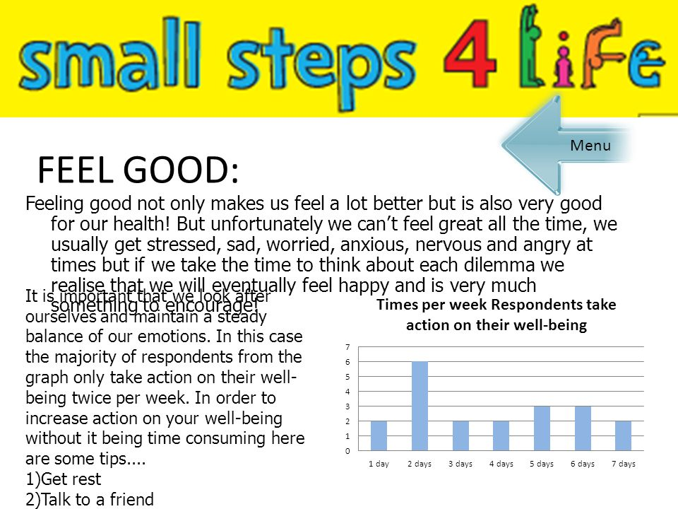 FEEL GOOD: Feeling good not only makes us feel a lot better but is also very good for our health! But unfortunately we can't feel great all the time,