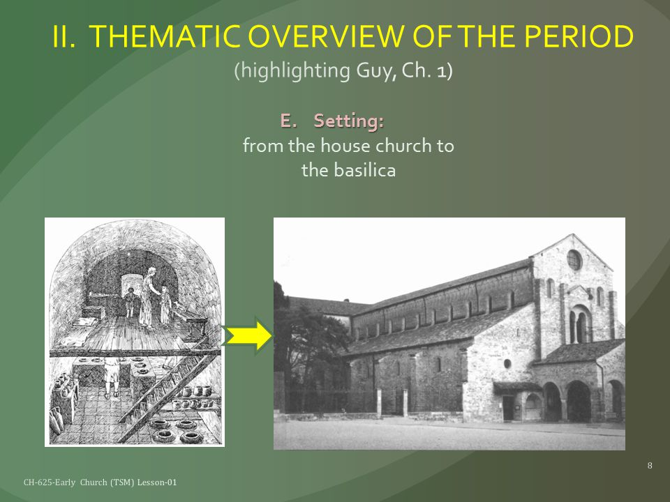 E.Setting: E.Setting: from the house church to the basilica CH-625-Early Church (TSM) Lesson-01 8