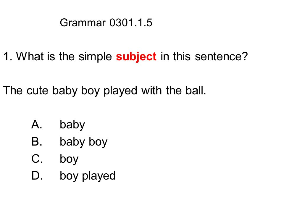Grammar 0301.1.5 1. What is the simple subject in this sentence.