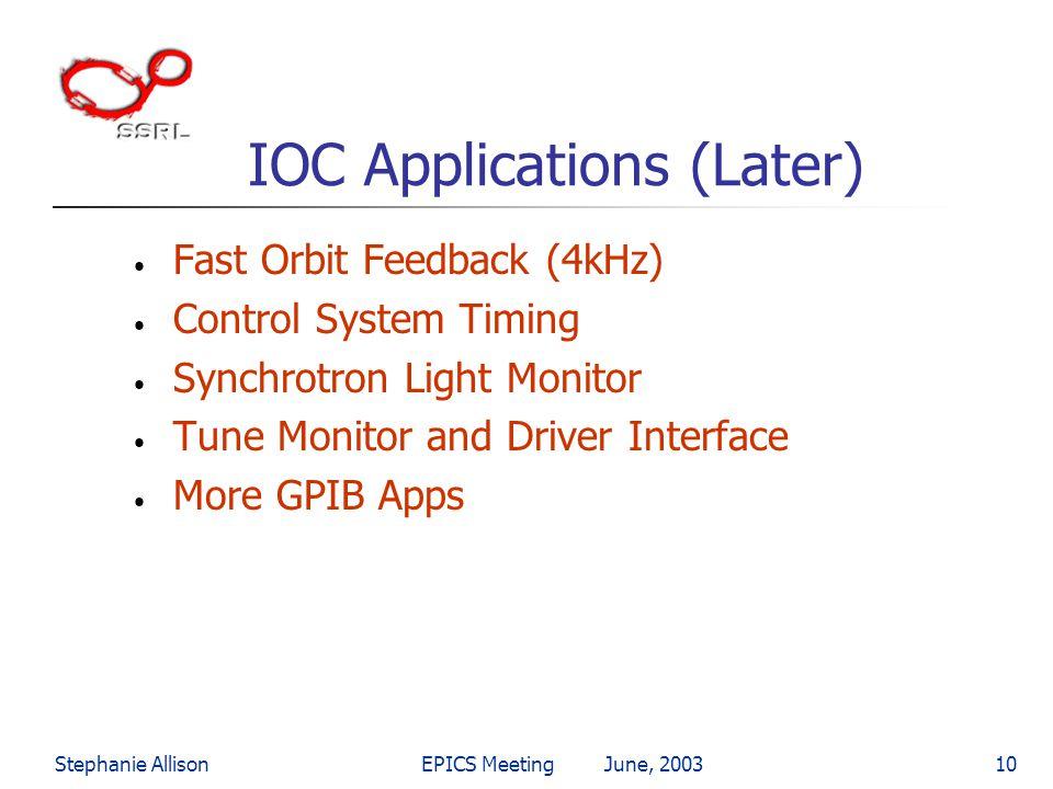 Stephanie AllisonEPICS Meeting June, 200310 IOC Applications (Later) Fast Orbit Feedback (4kHz) Control System Timing Synchrotron Light Monitor Tune M