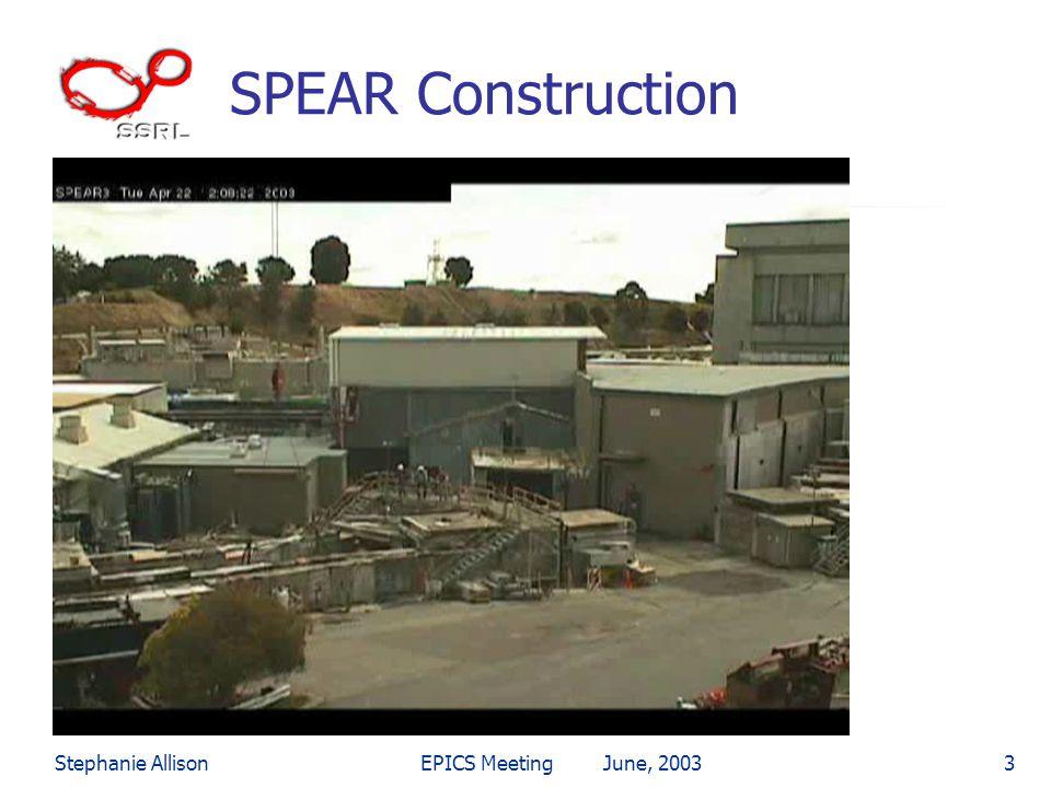 Stephanie AllisonEPICS Meeting June, 20033 SPEAR Construction