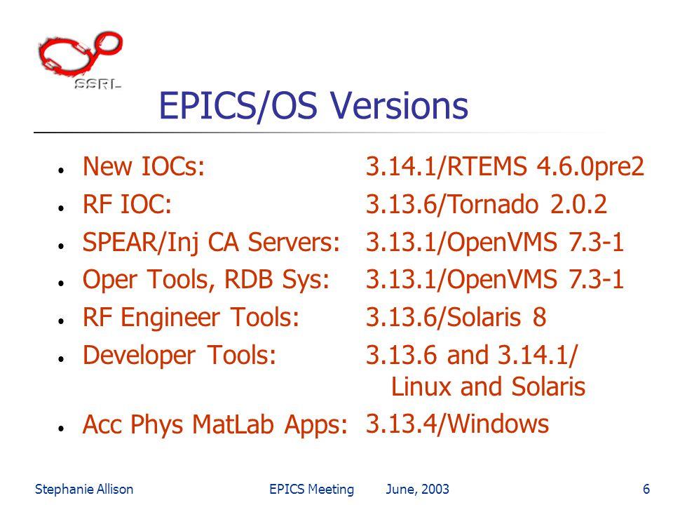 Stephanie AllisonEPICS Meeting June, 20036 EPICS/OS Versions New IOCs: RF IOC: SPEAR/Inj CA Servers: Oper Tools, RDB Sys: RF Engineer Tools: Developer