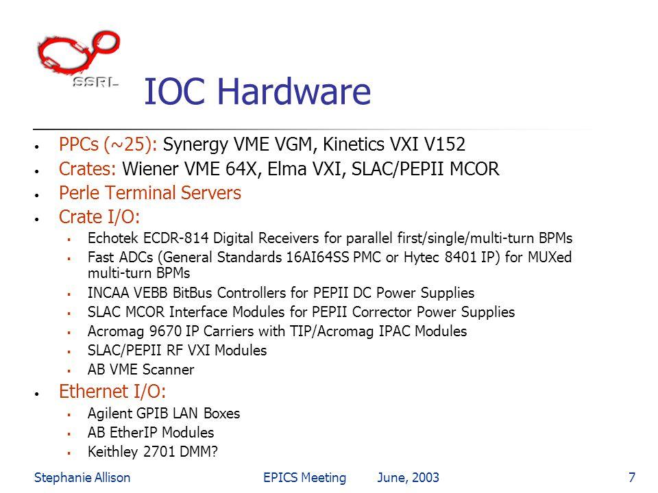 Stephanie AllisonEPICS Meeting June, 20037 IOC Hardware PPCs (~25): Synergy VME VGM, Kinetics VXI V152 Crates: Wiener VME 64X, Elma VXI, SLAC/PEPII MC