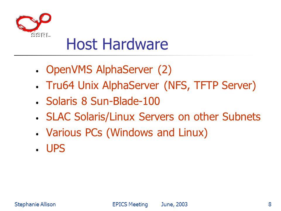 Stephanie AllisonEPICS Meeting June, 20038 Host Hardware OpenVMS AlphaServer (2) Tru64 Unix AlphaServer (NFS, TFTP Server) Solaris 8 Sun-Blade-100 SLA
