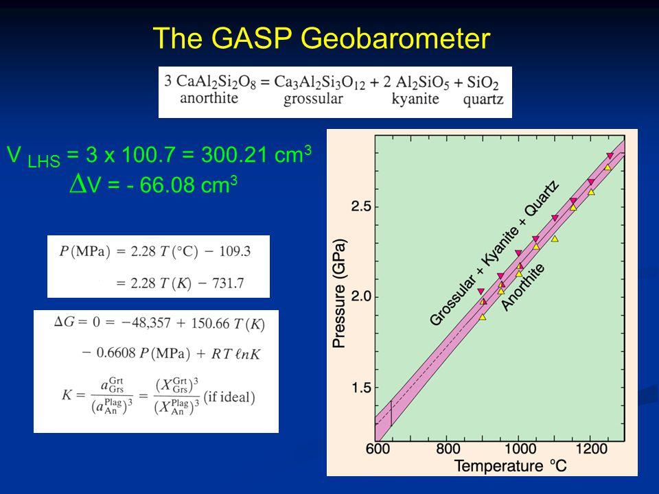 The GASP Geobarometer V LHS = 3 x 100.7 = 300.21 cm 3  V = - 66.08 cm 3
