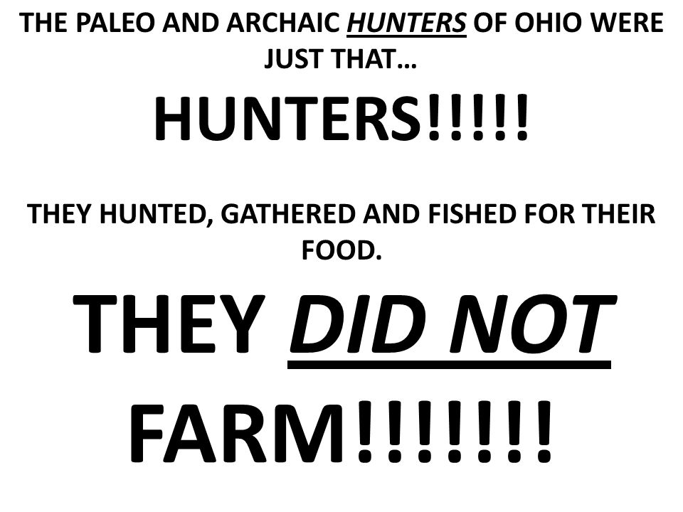 THE PALEO AND ARCHAIC HUNTERS OF OHIO WERE JUST THAT… HUNTERS!!!!.