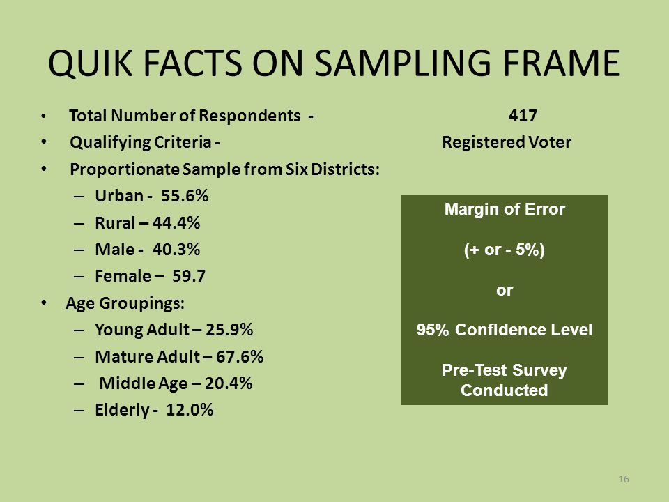 QUIK FACTS ON SAMPLING FRAME Total Number of Respondents -417 Qualifying Criteria - Registered Voter Proportionate Sample from Six Districts: – Urban - 55.6% – Rural – 44.4% – Male - 40.3% – Female – 59.7 Age Groupings: – Young Adult – 25.9% – Mature Adult – 67.6% – Middle Age – 20.4% – Elderly - 12.0% 16 Margin of Error (+ or - 5%) or 95% Confidence Level Pre-Test Survey Conducted