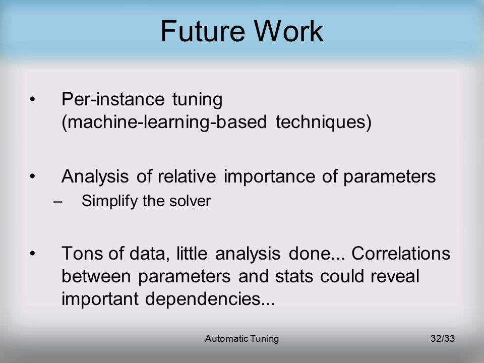 Automatic Tuning32/33 Future Work Per-instance tuning (machine-learning-based techniques) Analysis of relative importance of parameters –Simplify the solver Tons of data, little analysis done...