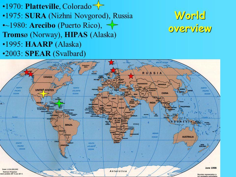17 1970: Platteville, Colorado 1975: SURA (Nizhni Novgorod), Russia ~1980: Arecibo (Puerto Rico), Tromsø (Norway), HIPAS (Alaska) 1995: HAARP (Alaska) 2003: SPEAR (Svalbard) World overview