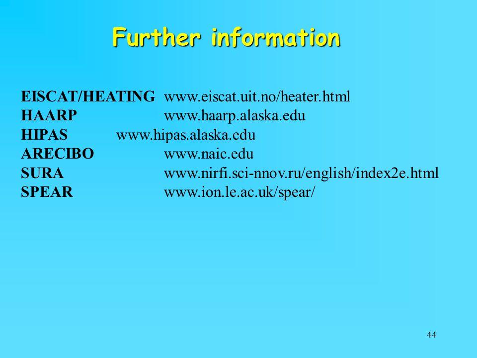 44 Further information EISCAT/HEATINGwww.eiscat.uit.no/heater.html HAARPwww.haarp.alaska.edu HIPASwww.hipas.alaska.edu ARECIBOwww.naic.edu SURA www.nirfi.sci-nnov.ru/english/index2e.html SPEARwww.ion.le.ac.uk/spear/
