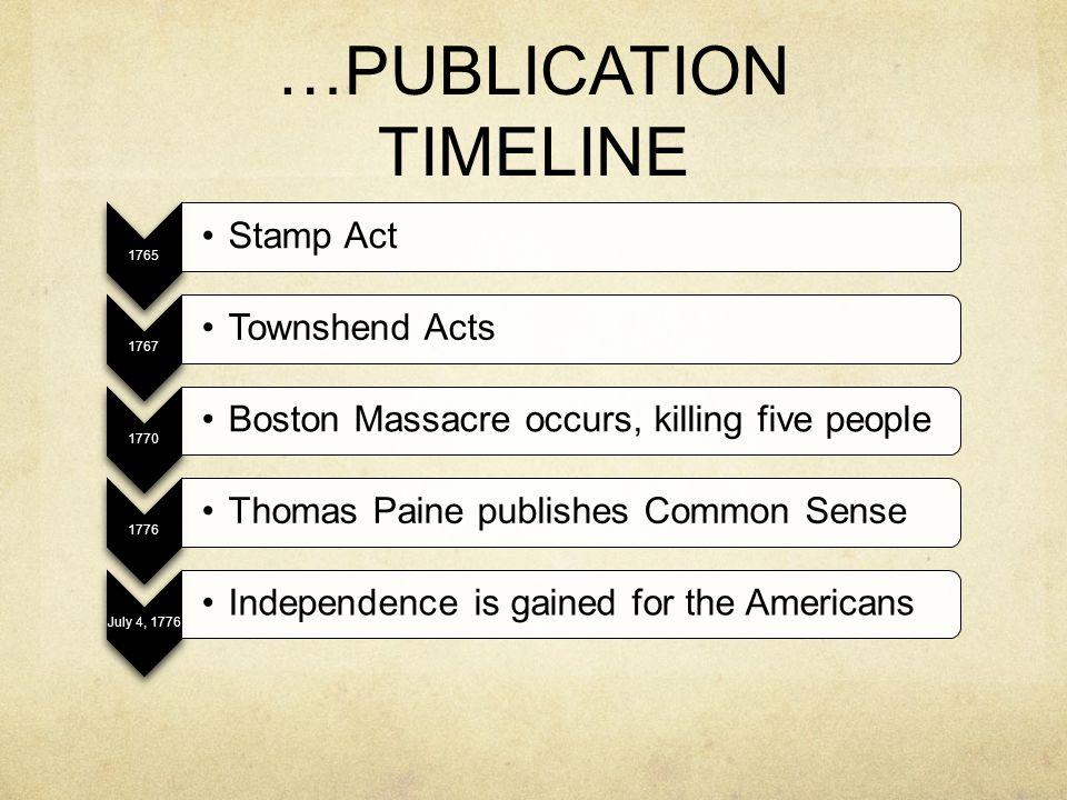 …PUBLICATION TIMELINE 1765 Stamp Act 1767 Townshend Acts 1770 Boston Massacre occurs, killing five people 1776 Thomas Paine publishes Common Sense Jul