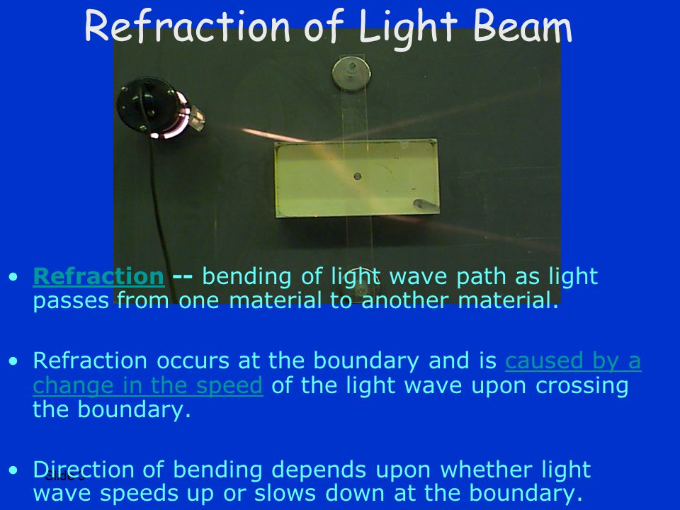 Slide 3 Refraction of Light Beam Refraction -- bending of light wave path as light passes from one material to another material.Refraction Refraction occurs at the boundary and is caused by a change in the speed of the light wave upon crossing the boundary.caused by a change in the speed Direction of bending depends upon whether light wave speeds up or slows down at the boundary.