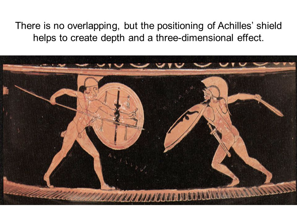 There is no overlapping, but the positioning of Achilles' shield helps to create depth and a three-dimensional effect.