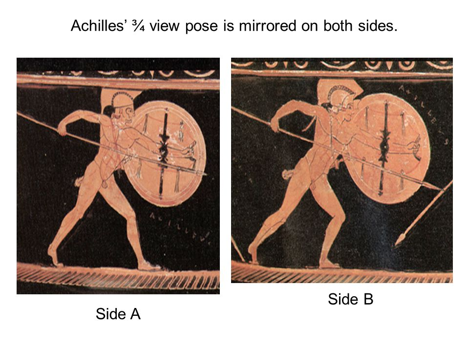 Achilles' ¾ view pose is mirrored on both sides. Side A Side B