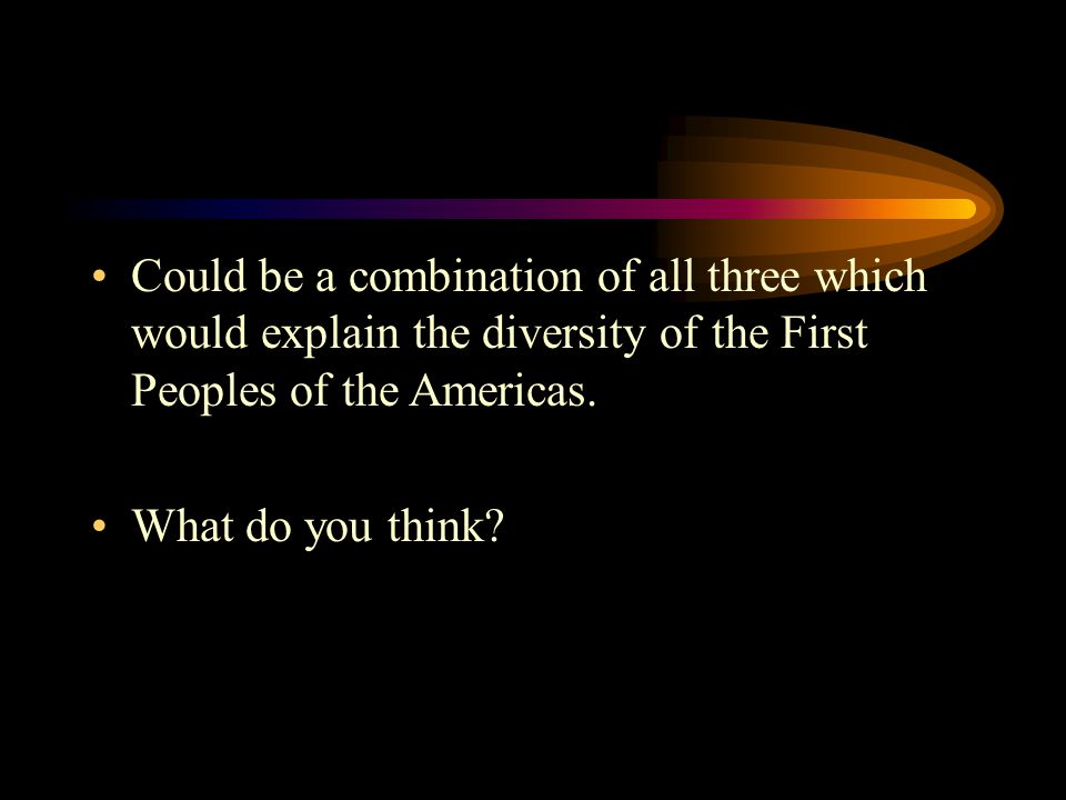 Could be a combination of all three which would explain the diversity of the First Peoples of the Americas. What do you think?