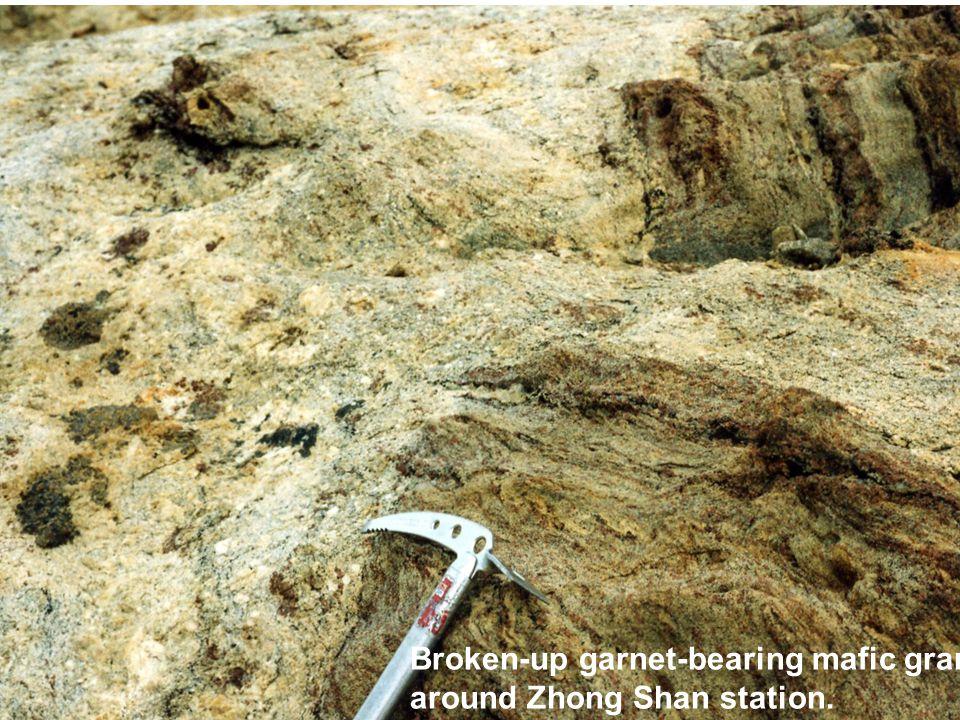 Broken-up garnet-bearing mafic granulite around Zhong Shan station.